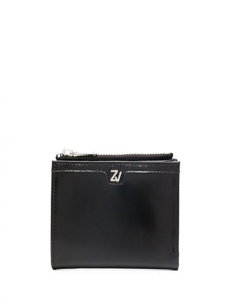 Кожаный черный кожаный кошелек квадратный со шлицей Zadig&voltaire