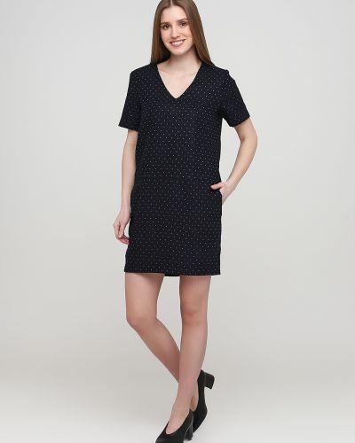 Синее платье мини с короткими рукавами из плотной ткани Frnch