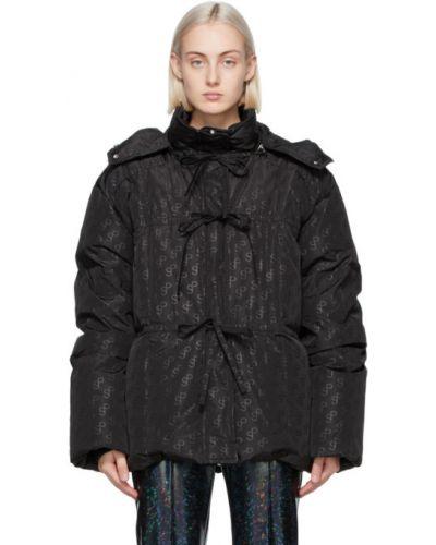 Черное пуховое длинное пальто с капюшоном Saks Potts