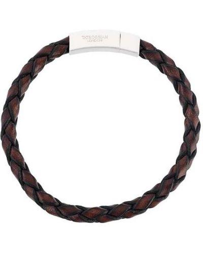 Плетеный браслет коричневый кожаный Tateossian