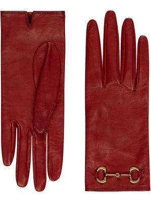 Кашемировые красные кожаные перчатки Gucci