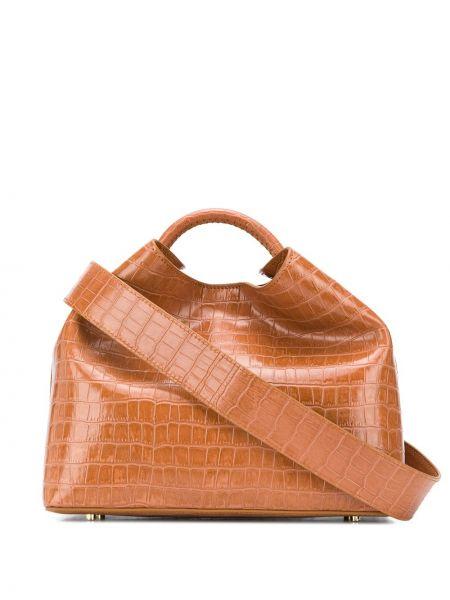 Z paskiem brązowy torba na ramię z prawdziwej skóry wytłoczony Elleme