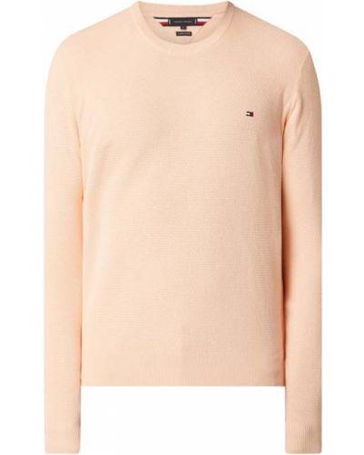 Prążkowany pomarańczowy sweter bawełniany Tommy Hilfiger
