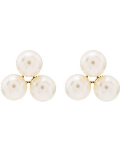 Białe złote kolczyki perełki Jennifer Behr
