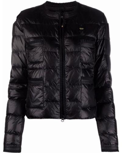 Пуховая черная длинная куртка с карманами Blauer
