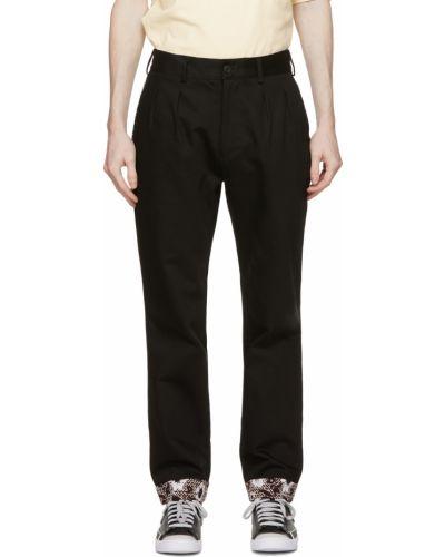 Czarne spodnie z paskiem bawełniane Clot