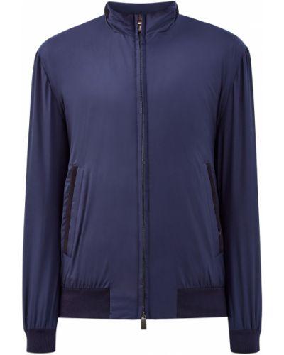 Текстильная классическая синяя куртка с декоративной отделкой Canali