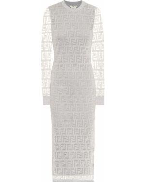 Платье миди сетчатое вязаное Fendi