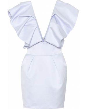 Satynowa niebieska sukienka midi Alexandre Vauthier