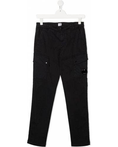 Брючные прямые черные прямые брюки с поясом Cp Company Kids