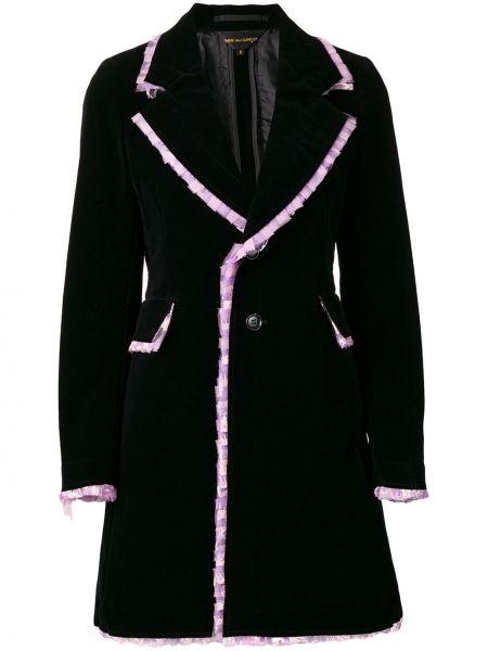 Черное длинное пальто с капюшоном на пуговицах Comme Des Garçons