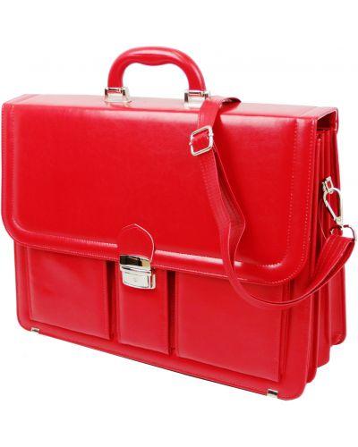 Кожаный портфель - красный Amo