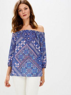 Блузка с открытыми плечами осенняя синяя Wallis