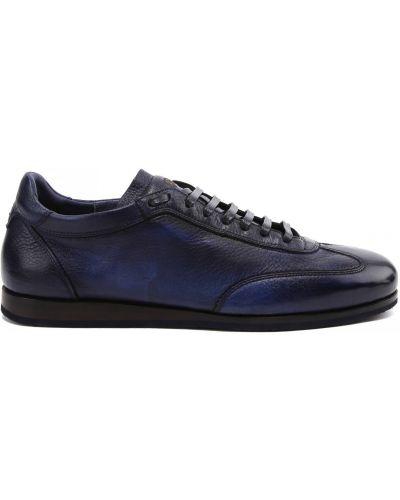 Синие кожаные кроссовки на шнуровке Fabi