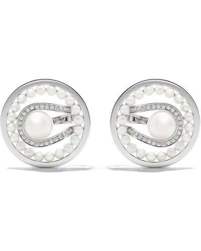 Białe klipsy srebrne perły Tasaki
