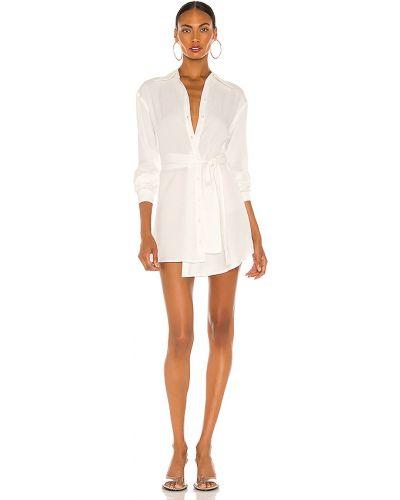 Biały bielizna sukienka z mankietami zapinane na guziki Atoir