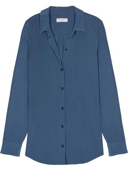 Классическая шелковая синяя классическая рубашка с воротником Equipment