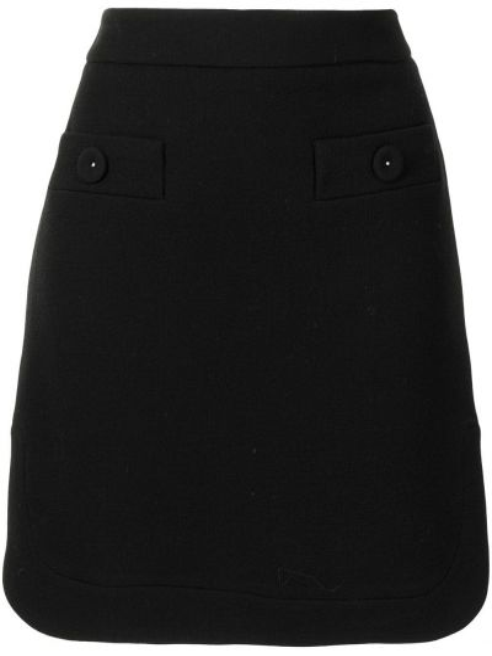Шерстяная юбка миди - черная Paule Ka