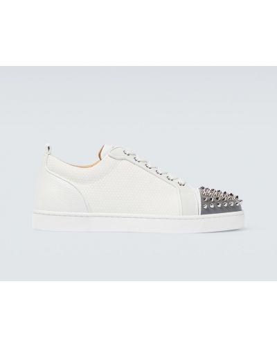 Кожаные белые кроссовки с шипами Christian Louboutin