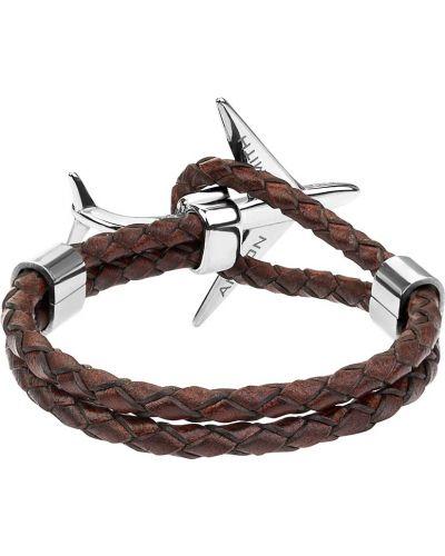 Плетеный кожаный серебряный браслет Anton Smith