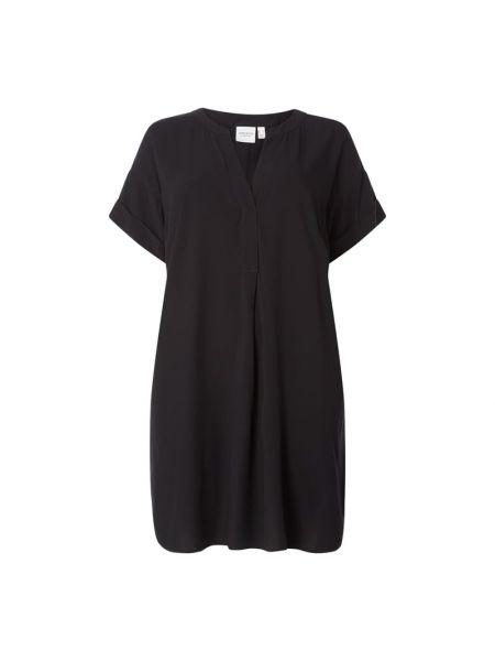 Czarna sukienka mini krótki rękaw rozkloszowana Junarose
