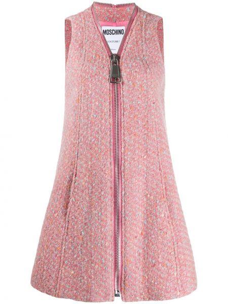 Шерстяное розовое платье с вырезом Moschino