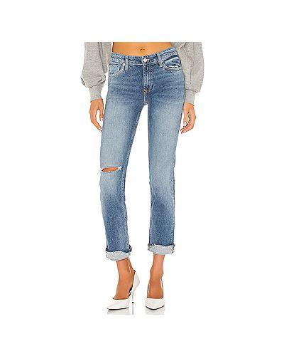 Синие рваные джинсы бойфренды на молнии Free People