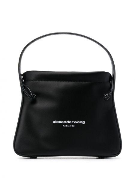 Черная кожаная сумка-тоут с карманами Alexander Wang