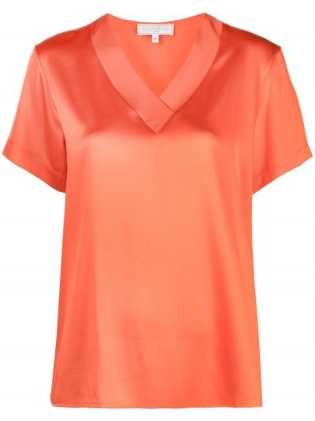 Pomarańczowy t-shirt z dekoltem w serek krótki rękaw Antonelli
