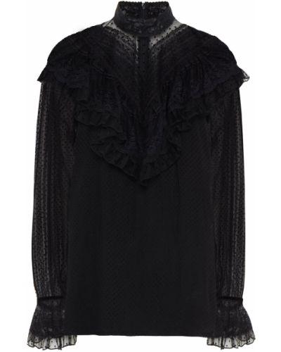Bluzka koronkowa tiulowa - czarna Zimmermann