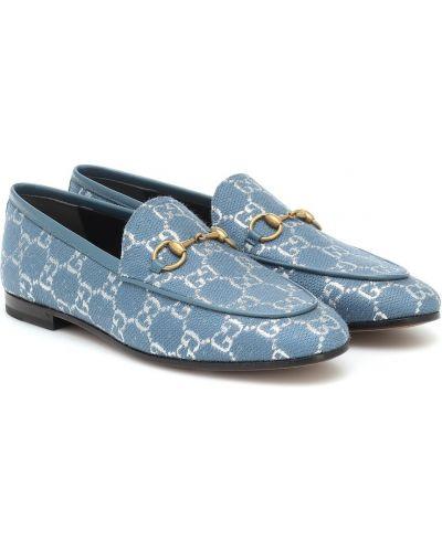 Skórzany niebieski loafers Gucci