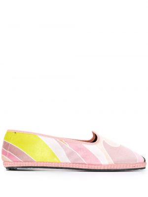 Бархатные розовые слиперы без застежки на плоской подошве Emilio Pucci
