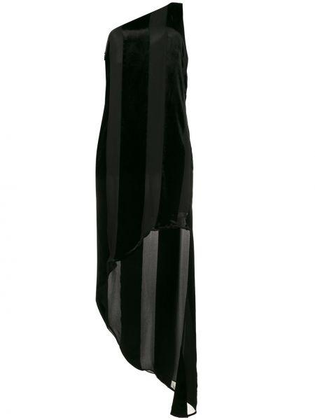 Шелковое черное платье на одно плечо Haney