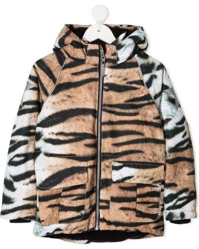 Классическая с рукавами коричневая куртка с капюшоном Molo