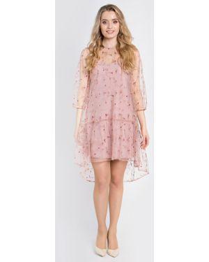 Вечернее платье с вышивкой сетчатое на торжество свободного кроя Filigrana