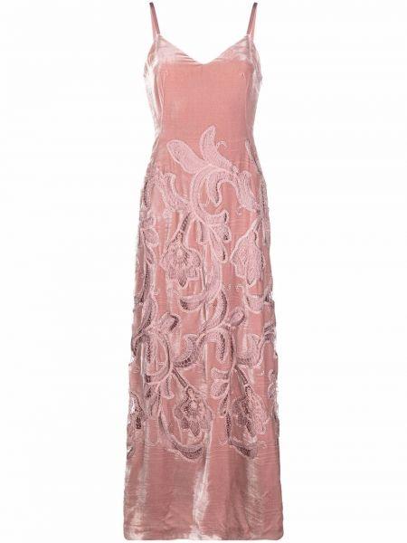 Шелковое платье макси - розовое Alberta Ferretti