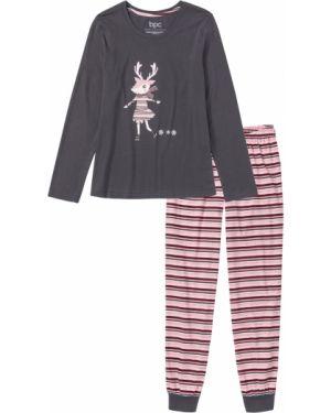 Пижама с брюками свободная в полоску Bonprix