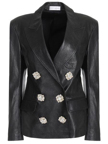 Кожаная куртка черная на пуговицах Faith Connexion