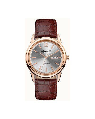 Часы механические с кожаным ремешком серебряный Ingersoll
