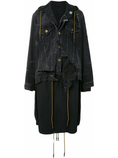 С рукавами классическое черное длинное пальто на пуговицах Maison Mihara Yasuhiro