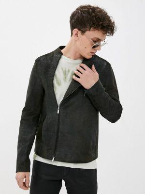 Кожаная куртка - серая Emporio Armani