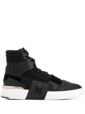 Кожаные высокие кроссовки - черные Philipp Plein