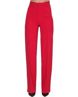 Брюки с завышенной талией стрейч с накладными карманами Red Valentino