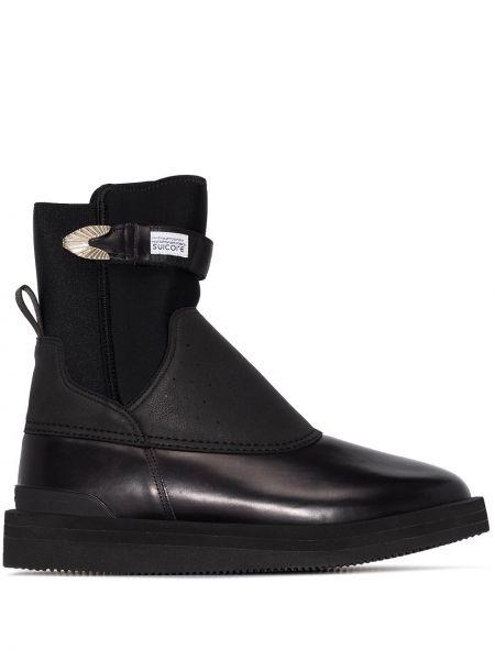 Кожаные черные кожаные ботинки с пряжкой на каблуке Toga Virilis