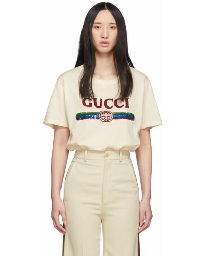 Beżowy t-shirt krótki rękaw bawełniany Gucci