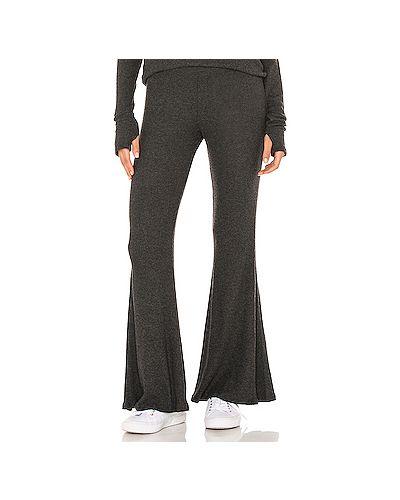 Хлопковые брюки на резинке в рубчик с начесом Michael Lauren