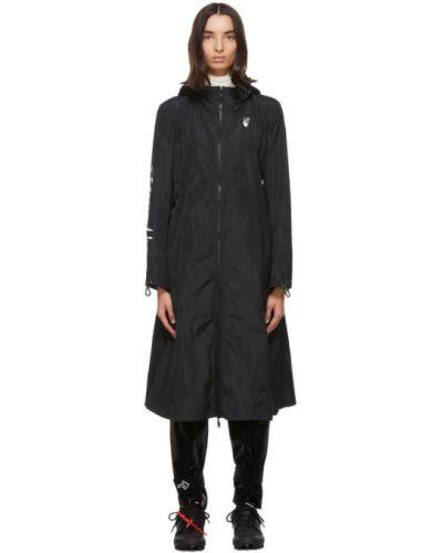 Czarny długi płaszcz z kieszeniami z mankietami z długimi rękawami Off-white