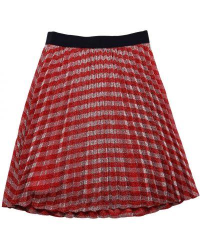 Красная бархатная плиссированная юбка Little Marc Jacobs