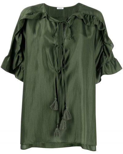 Зеленая шелковая блузка со вставками P.a.r.o.s.h.