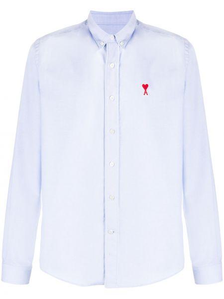 Niebieska koszula bawełniana z długimi rękawami Ami